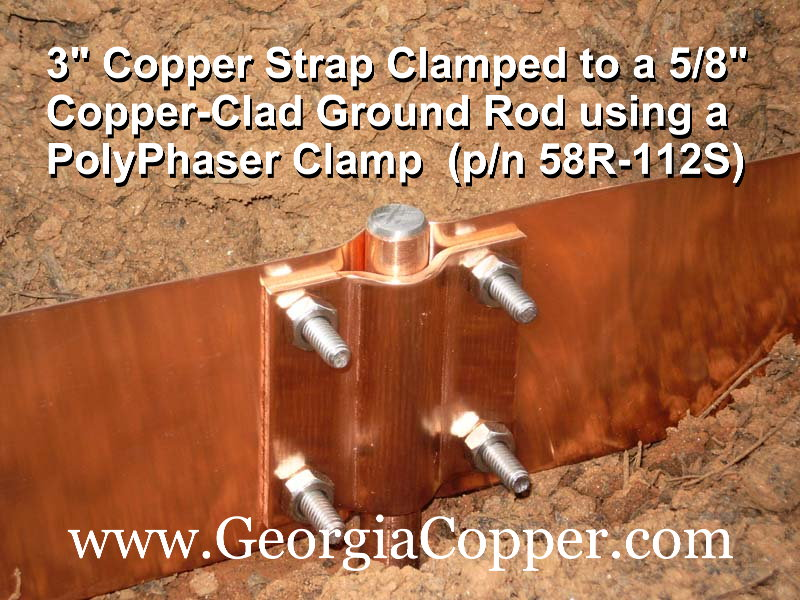 Georgia Copper Copper Ground Strap For Grounding And Bonding